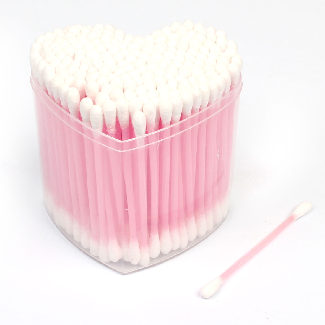 200Pcs Heart Shape Box Double End Head Cosmetic Cotton Swab Bud Clear Pink White