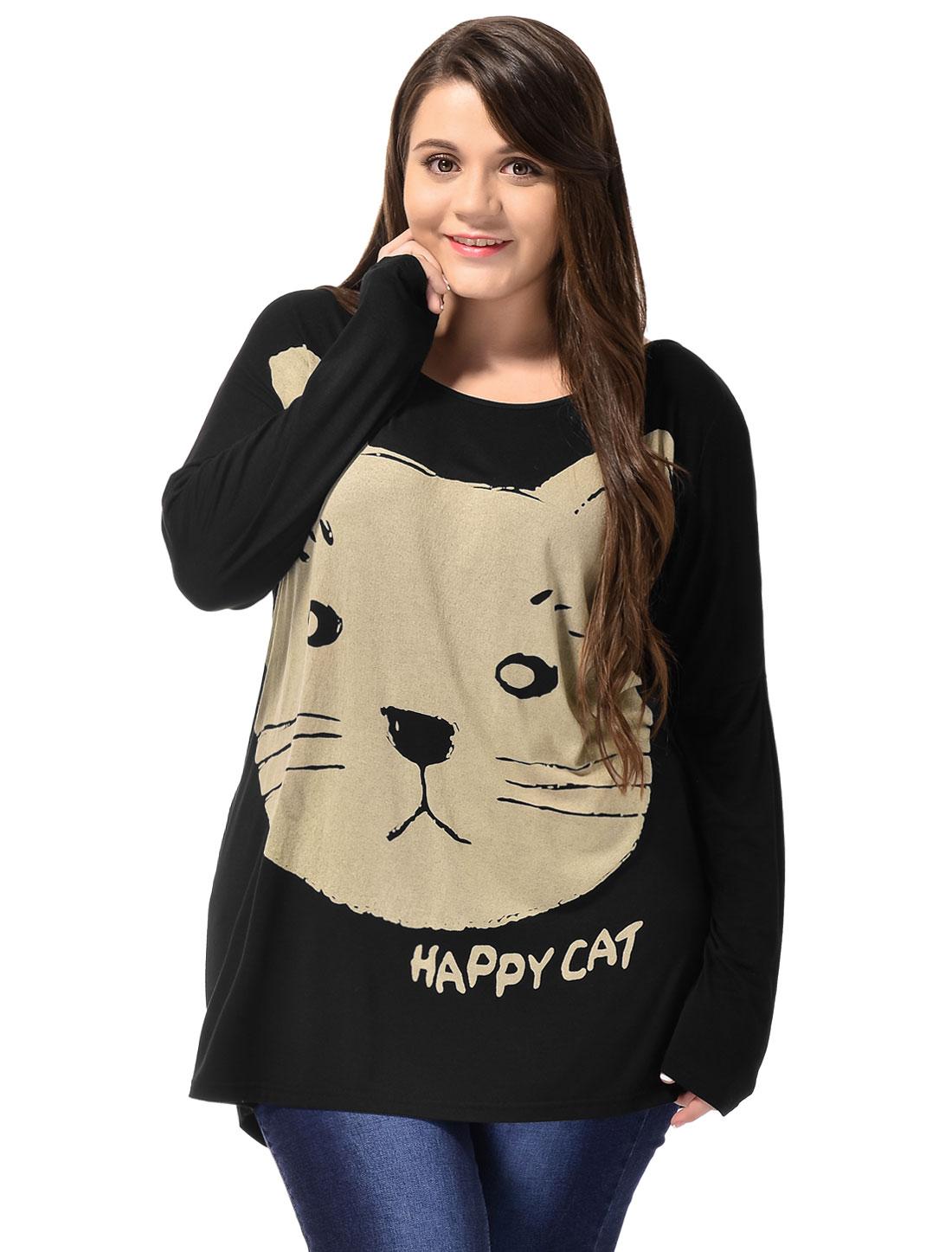 Ladies Black Cat Head Prints Batwing Sleeves Autumn Tee Shirt Plus Size 2X