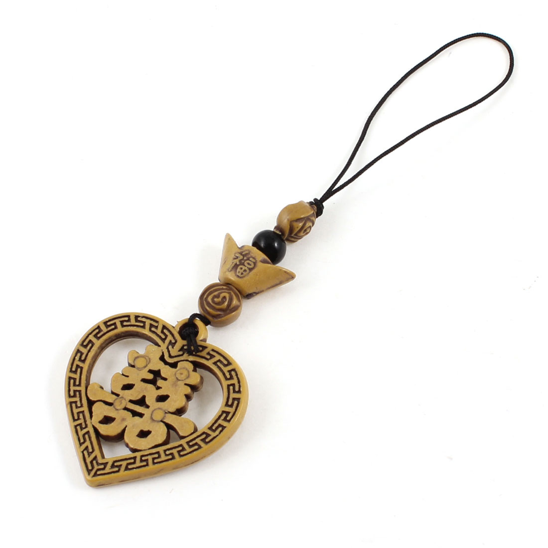 Double Happiness Shape Wood Pendant Ornament for Cell Phone Handbag Keychain