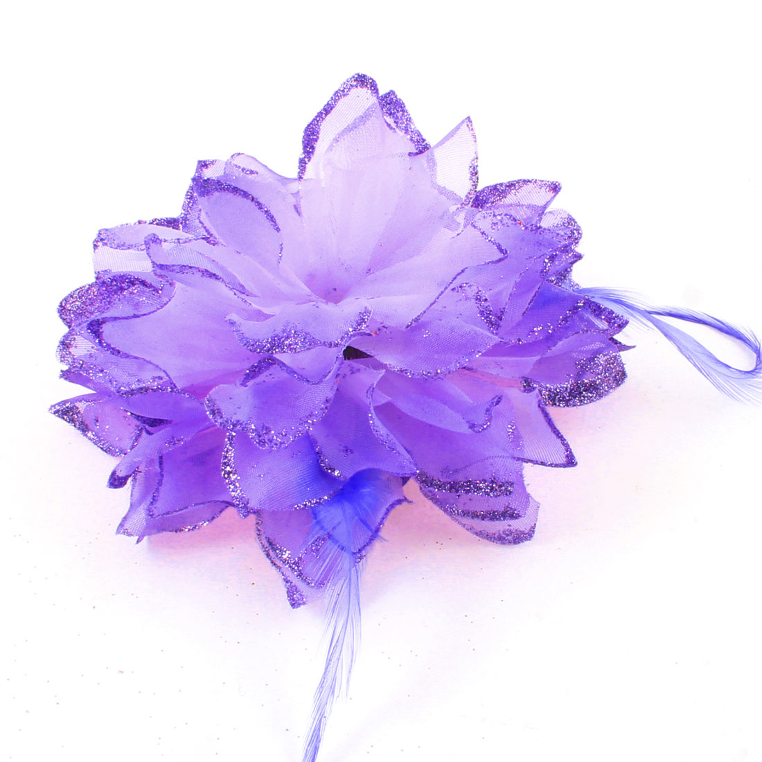 Women Light Purple Flower Bling Elastic Rubber Hair Band Ponytail Holder Brooch