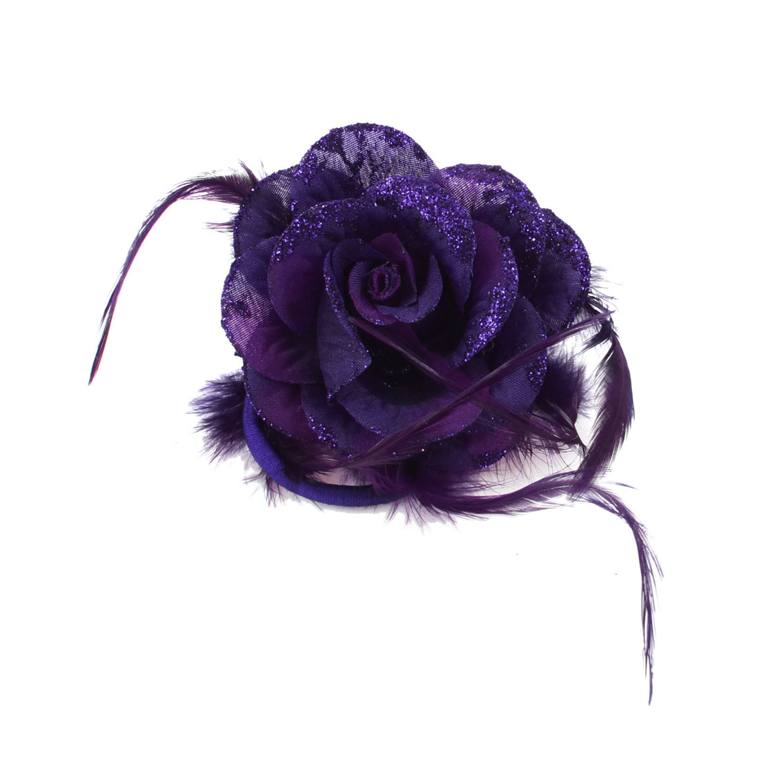 Lady Purple Flower Bling Decor Strctch Rubber Hair Band Ponytail Holder Brooch