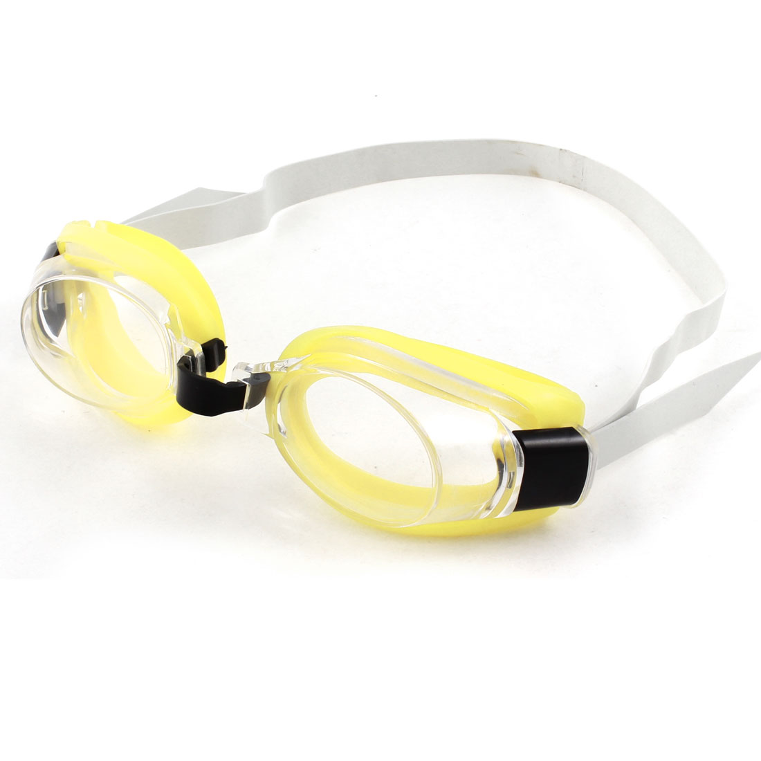 Adult White Stretchy Headstrap Yellow Flexible Silicone Swim Goggles