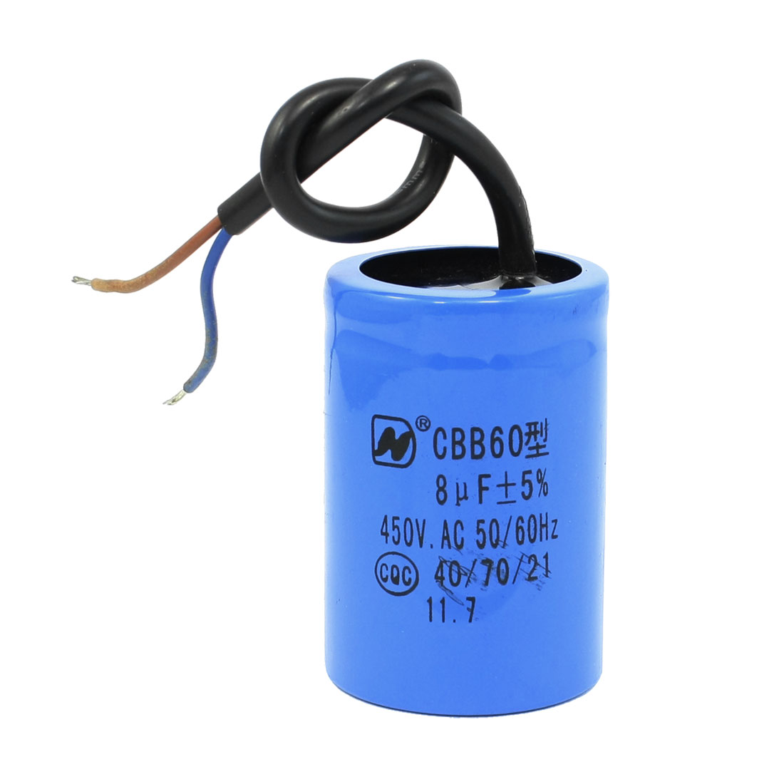AC 450V CBB60 8uF Cylindrical Thrminals Polypropylene Film Capacitor for Washers