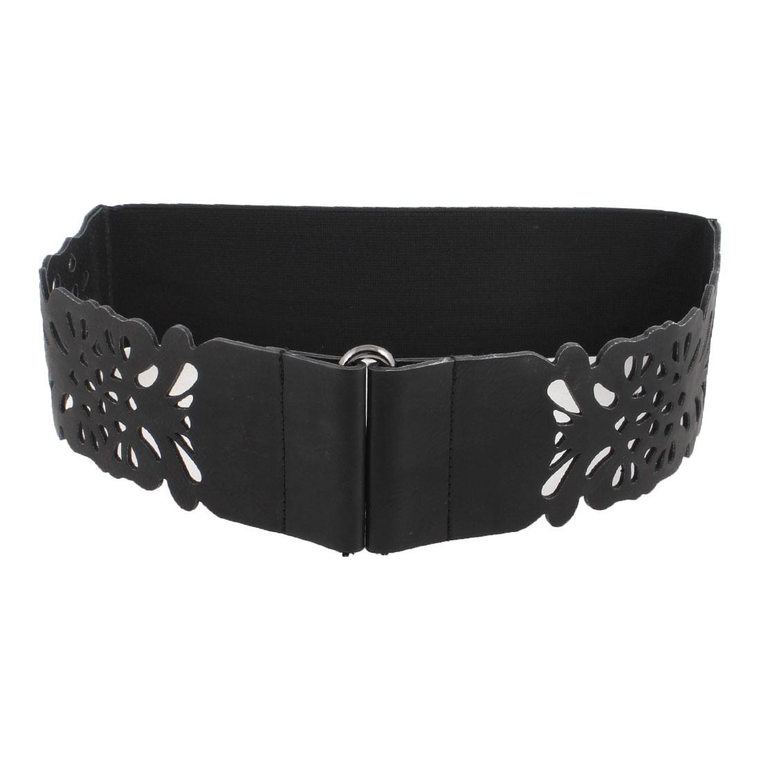 Women Metal Interlocking Buckle 7cm Width Trousers Waistband Waist Belt Black