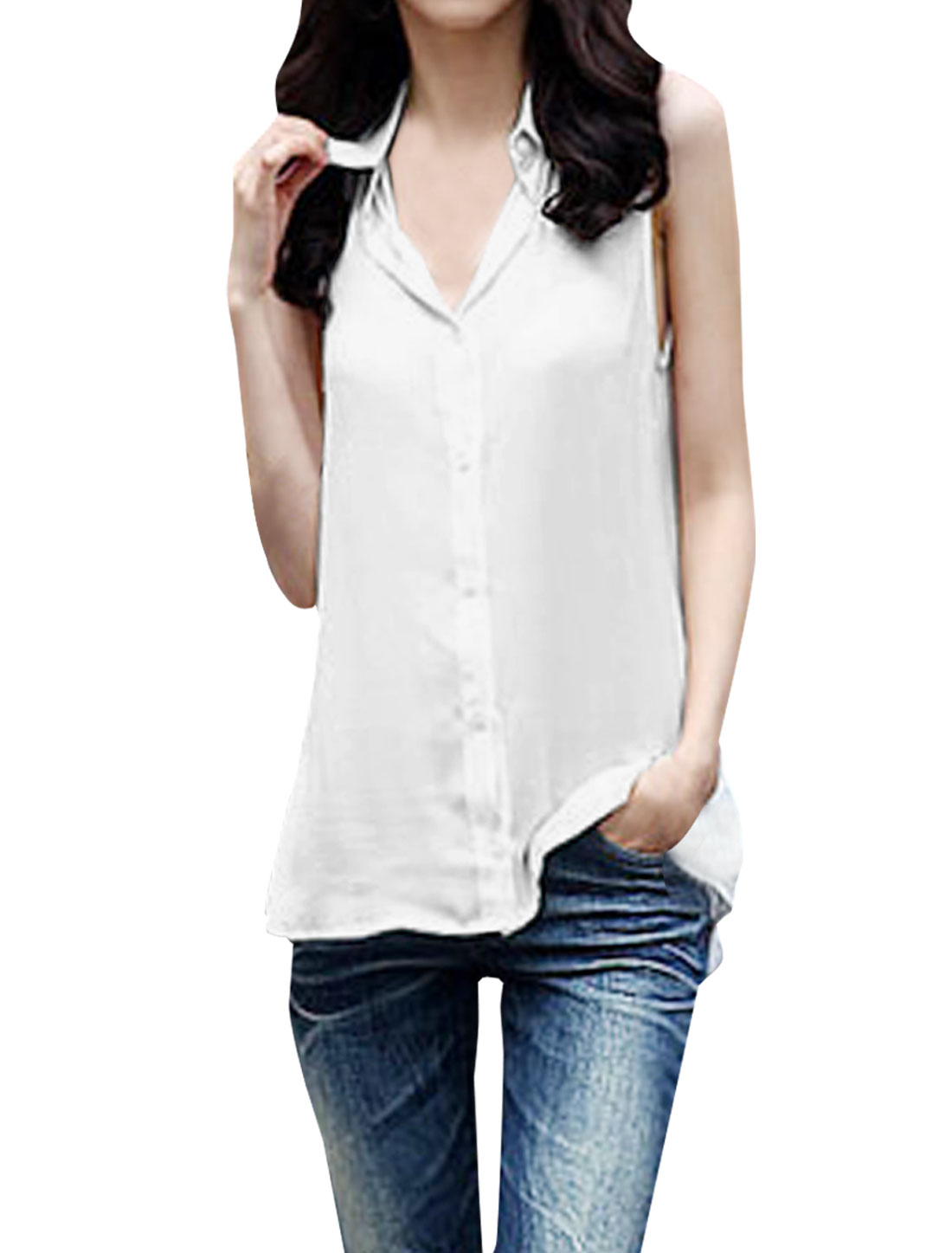 Ladies Point Collar Button Up Sleeveless Semi Sheer Top Shirt White XS