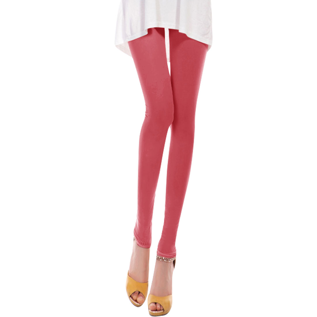 Ladies Elastic Waist Semi Sheer Cropped Pants Watermelon Red XS