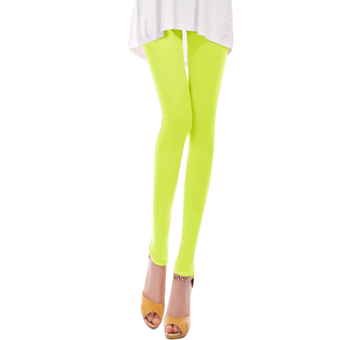 Ladies Semi Sheer Mid Rise Stretchy Cropped Pants Lime XS