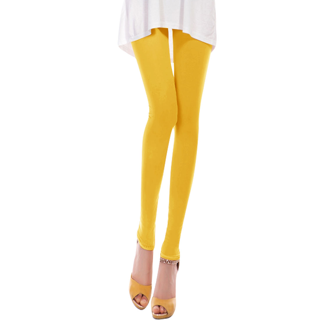 Ladies Stretchy Waist Summer Wearing Cropped Pants Yellow XS