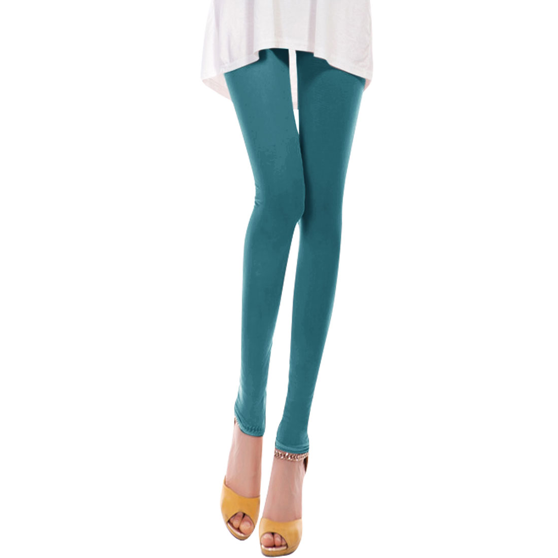 Elastic Waist Hollow Out Cropped Pants for Ladies Turquoise XS