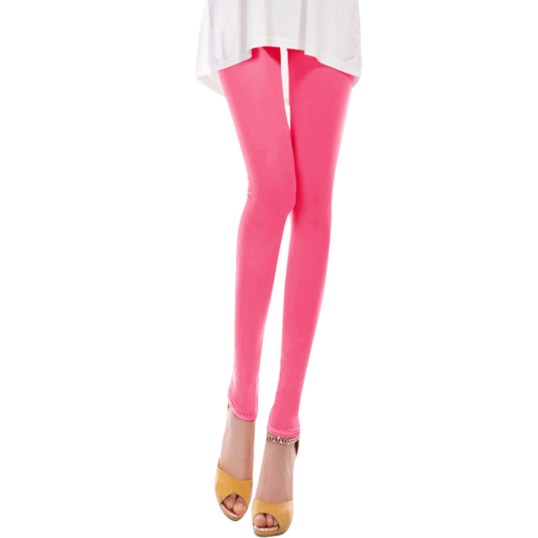 Ladies Elastic Waist Mid Rise Cropped Pants Hot Pink XS