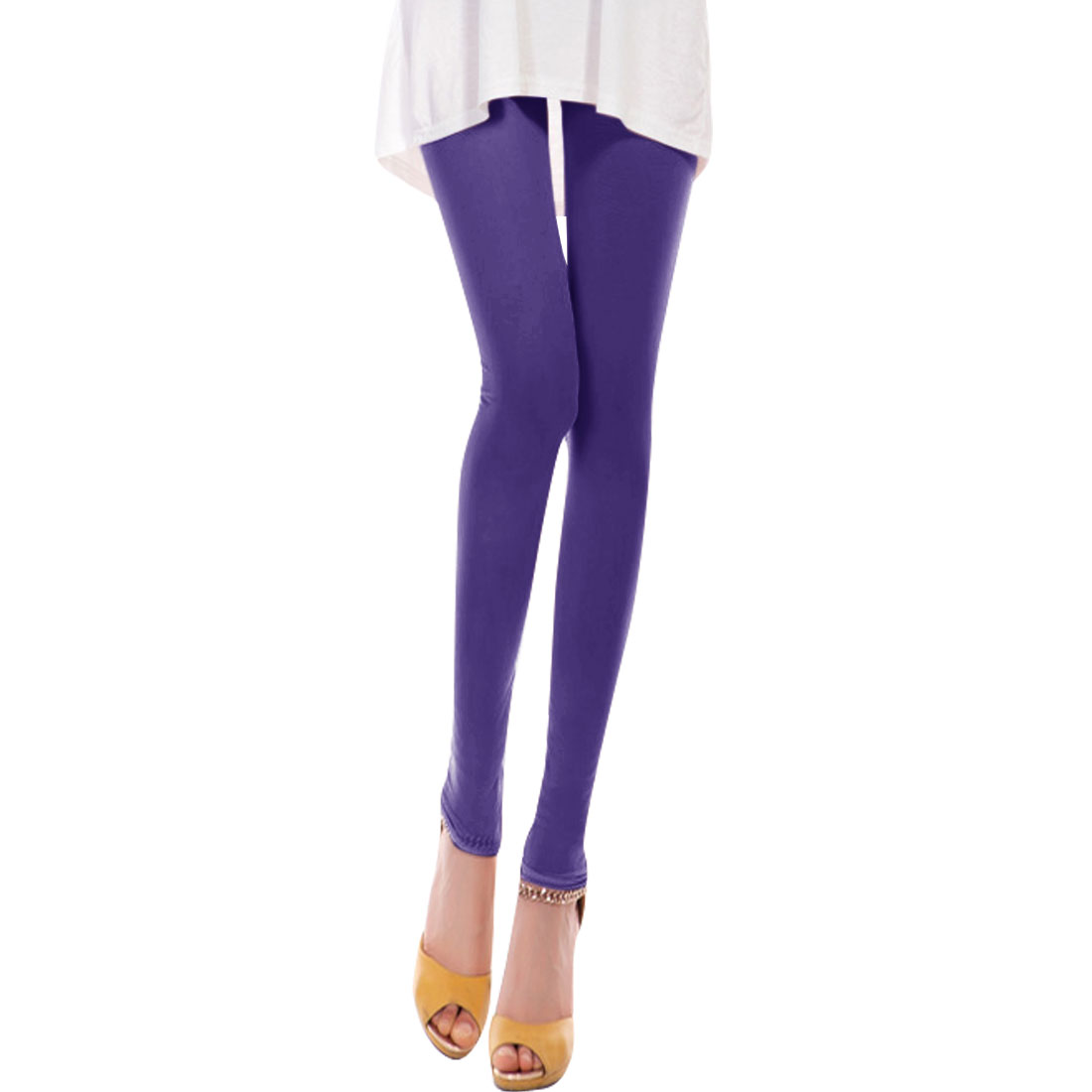 Ladies Elastic Waist Summer Stretchy Cropped Pants Purple XS