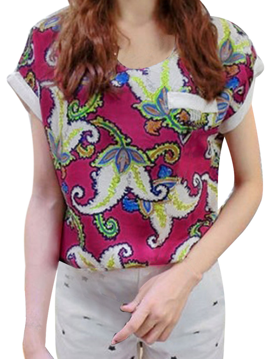 Women Floral Prints Round Neck Chiffon Leisure Shirt Multicolor S