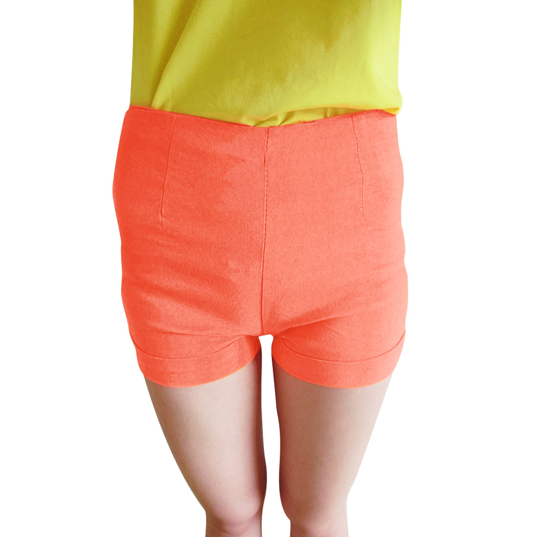 Zip Up Right Mock Hip Pockets Solid Color Casual Stretchy Short Pants Coral XS