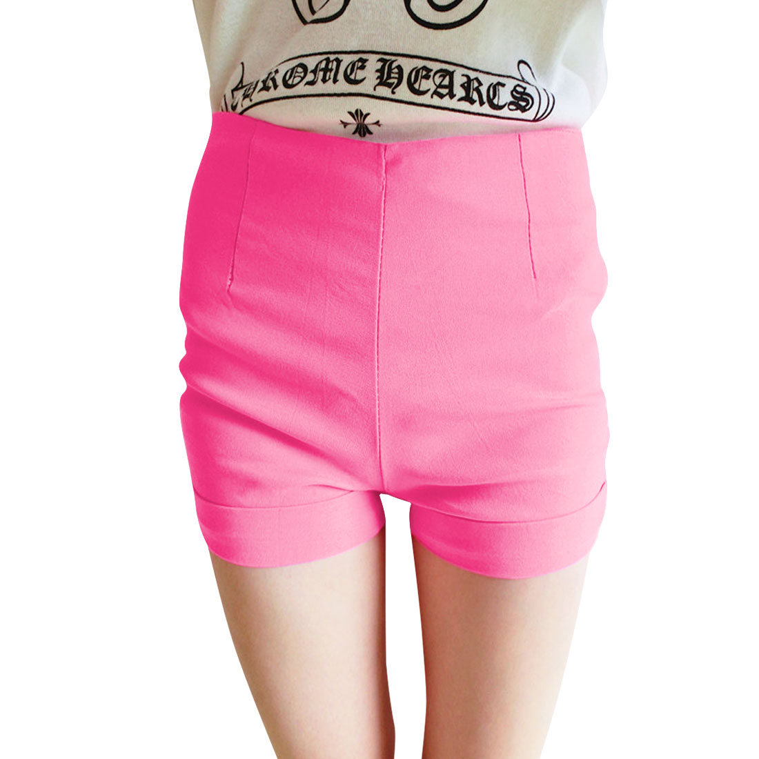 Zip Up Right Mock Hip Pockets Solid Color Straight Casual Short Pants Fuchsia XS