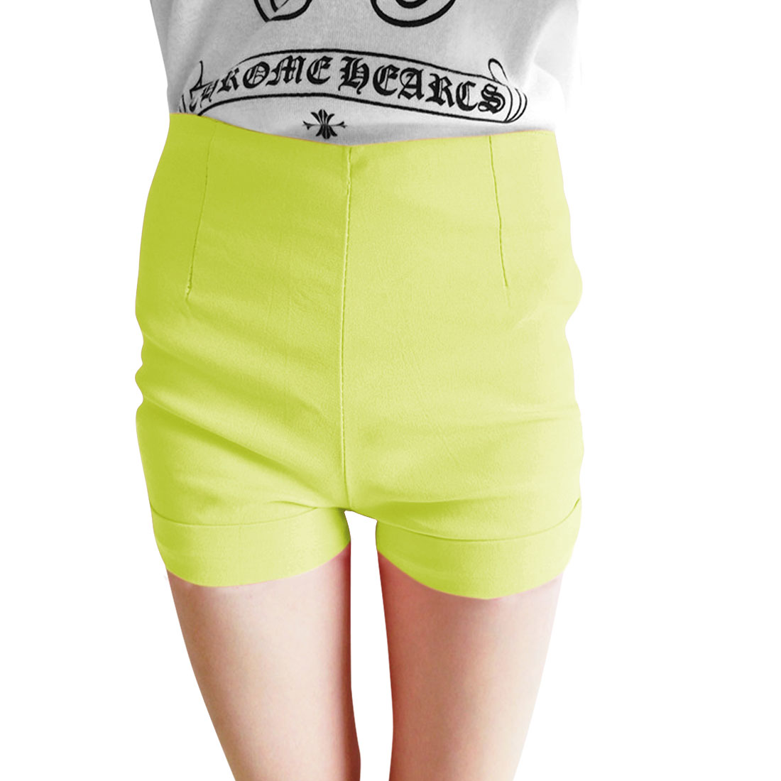 Zip Up Right Mock Hip Pockets Solid Color Mid Rise Casual Short Pants Lime XS