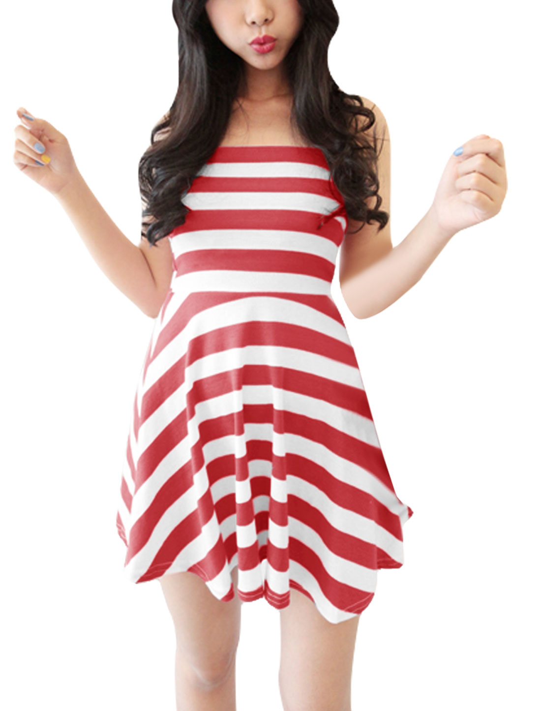 Ladies Backless Off The Shoulder Stripes Casual Stretchy Strapless Dress Red White XS