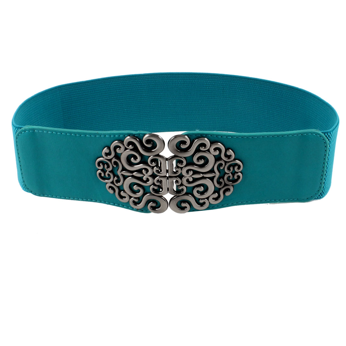 Lady Metal Symmetric Flower Interlock Buckle Textured Elastic Cinch Belt Teal Blue
