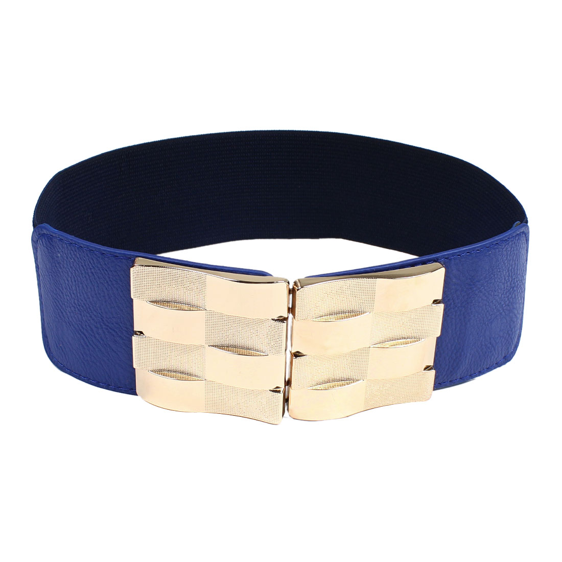 Gold Tone Buckle Royal Blue Wide Elastic Waistband Belt for Lady