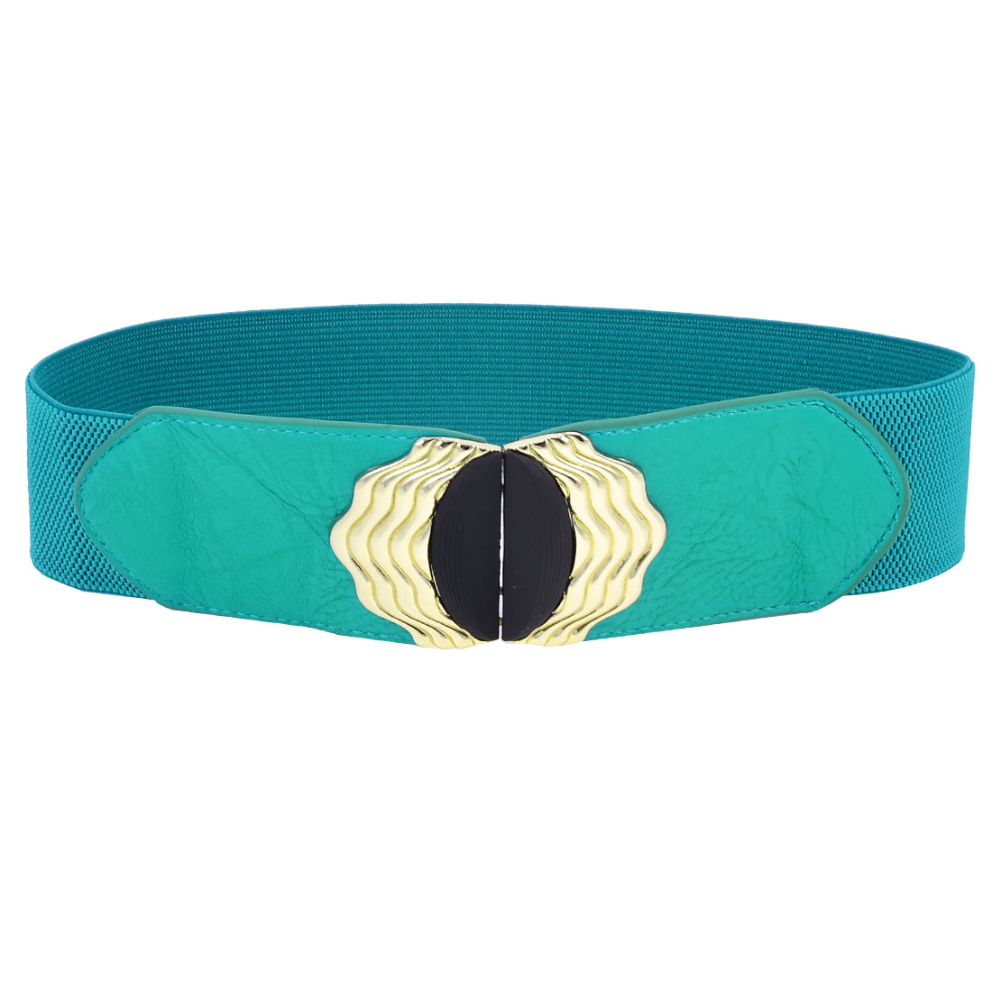Interlocking Buckle 6cm Wide Elastic Waist Belt Band Waistband Turquoise Blue
