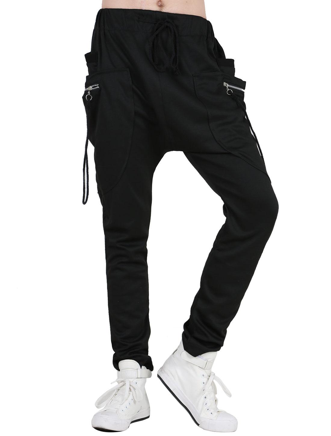 Mens Fashion Solid Black Zippers Decor Self Tie String Pants W36/38