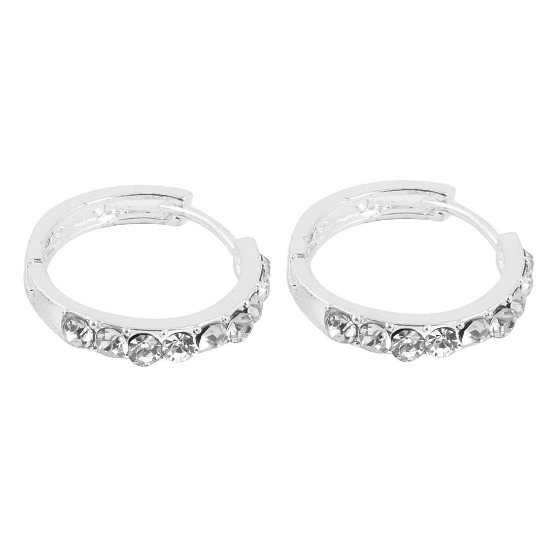 Ladies Pair Clear Glittery Rhinestone Accent Pierced Hoop Earrings
