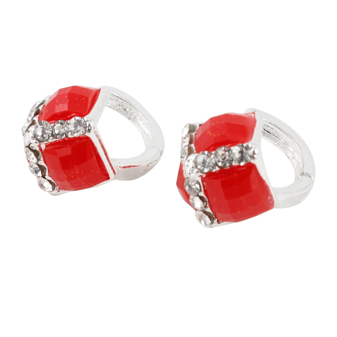 Ladies Pair Rhinestone Decor Pierced Hoop Earrings Red Silver Tone