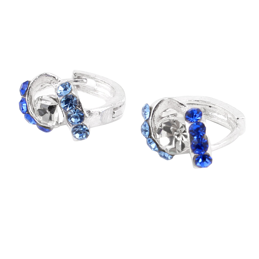 Ladies Pair Blue Clear Rhinestone Decor Pierced Hoop Earrings