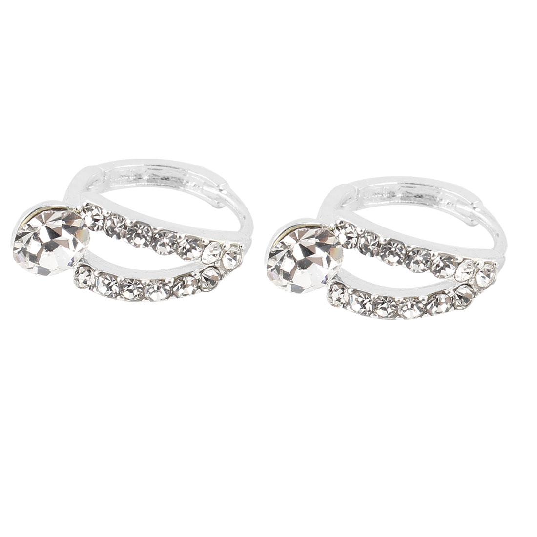 Ladies Pair Clear Glittery Rhinestone Decor Pierced Hoop Earrings