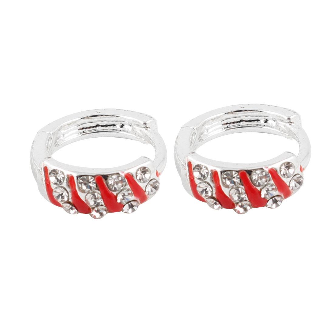 Ladies Pair Bling Rhinestone Decor Hoop Earrings Red Silver Tone