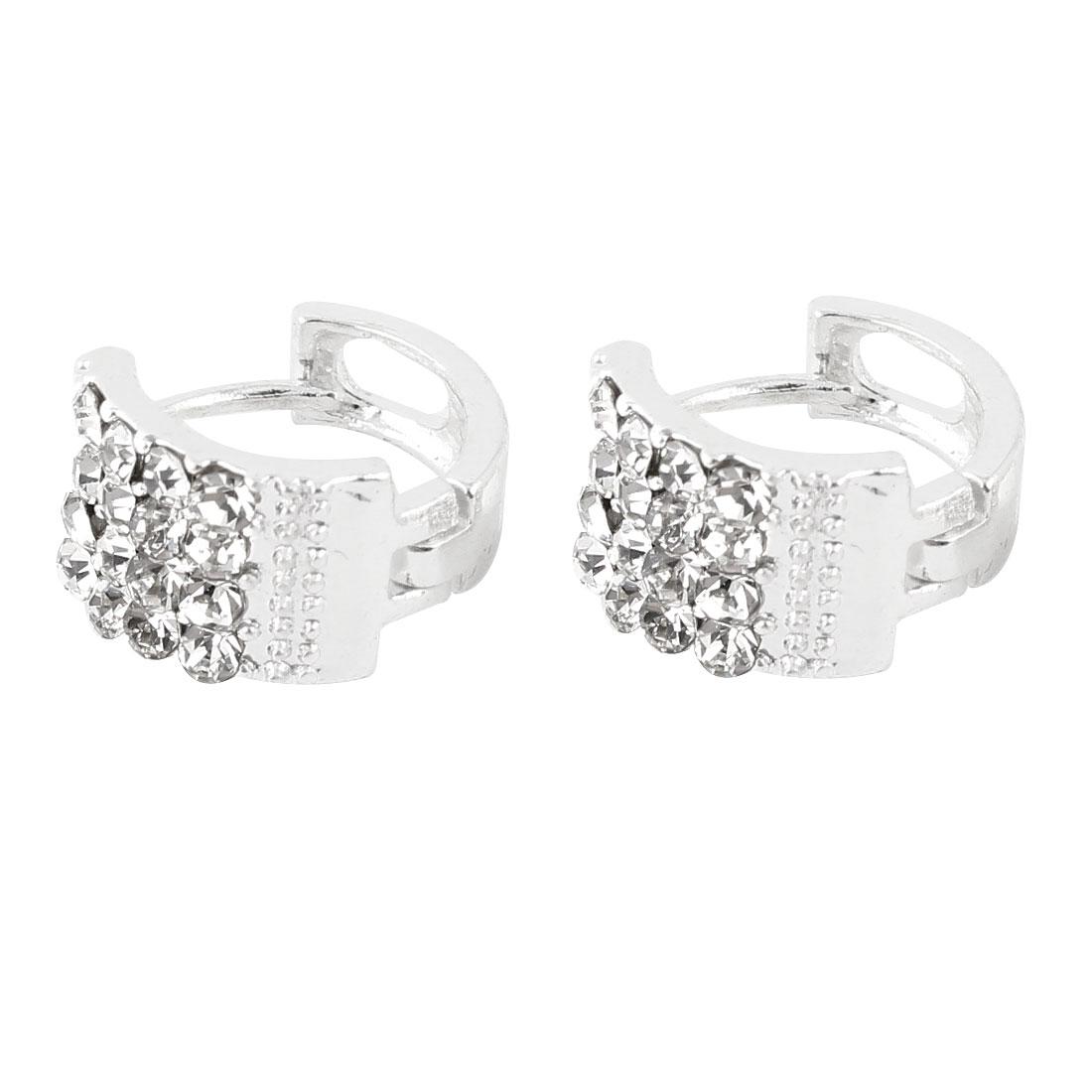 Ladies Pair Glittery Rhinestone Decor Eardrop Hoop Earrings