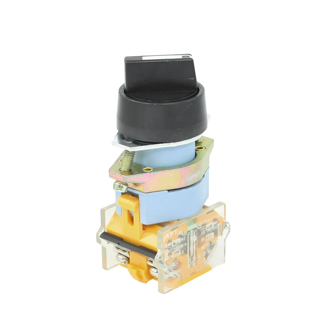 AC 660V 10A NO/NC 4-Terminal 3-Position Selector Self-Locking Push Button Switch
