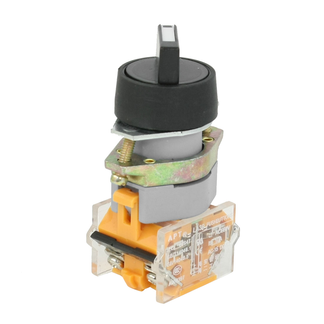 AC 660V 10A 1NO 1NC DPST 2 Position Rotary Selector Latching Push Button Switch