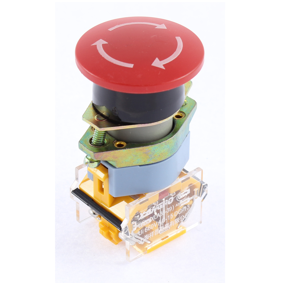 DPST 1NO 1NC Red Mushroom Emergency Stop Push Button Switch Ui 660V 10A