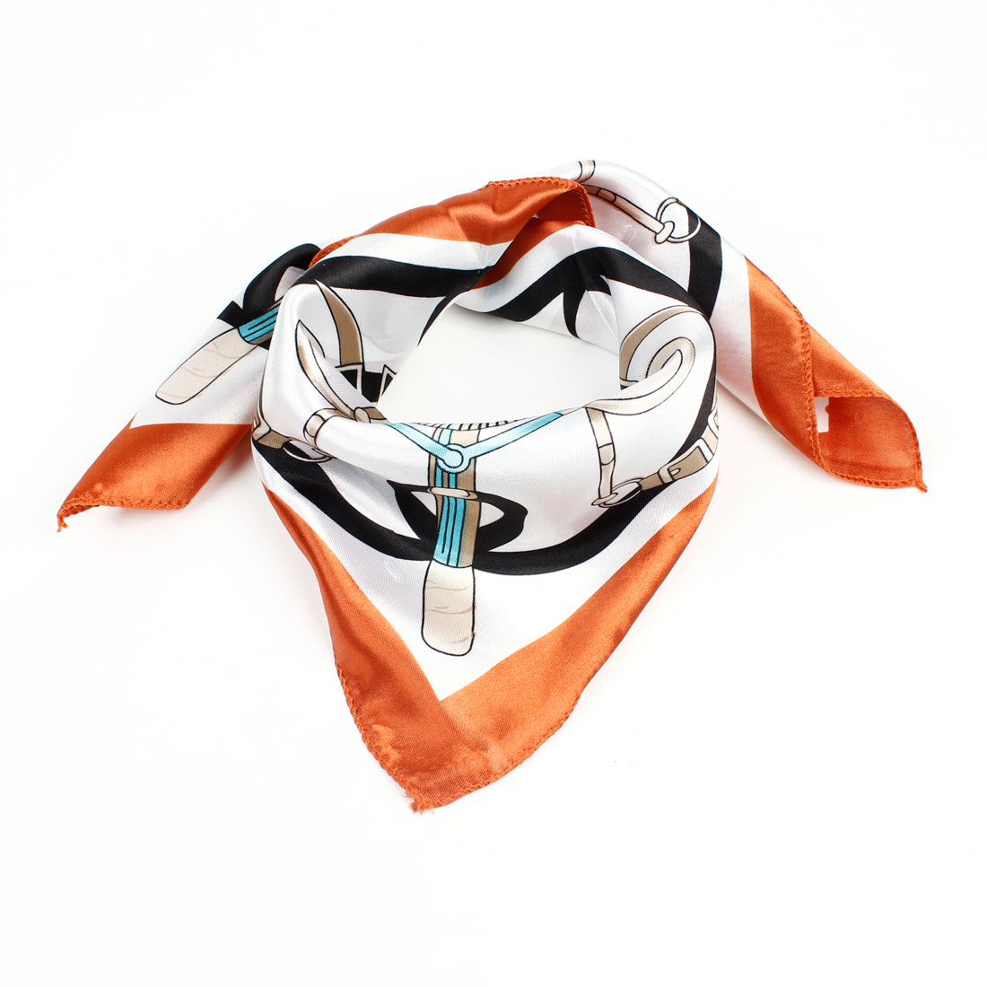 Orange Khaki Stripe Pattern Polyester Square Neck Neckerchief Scarf for Woman