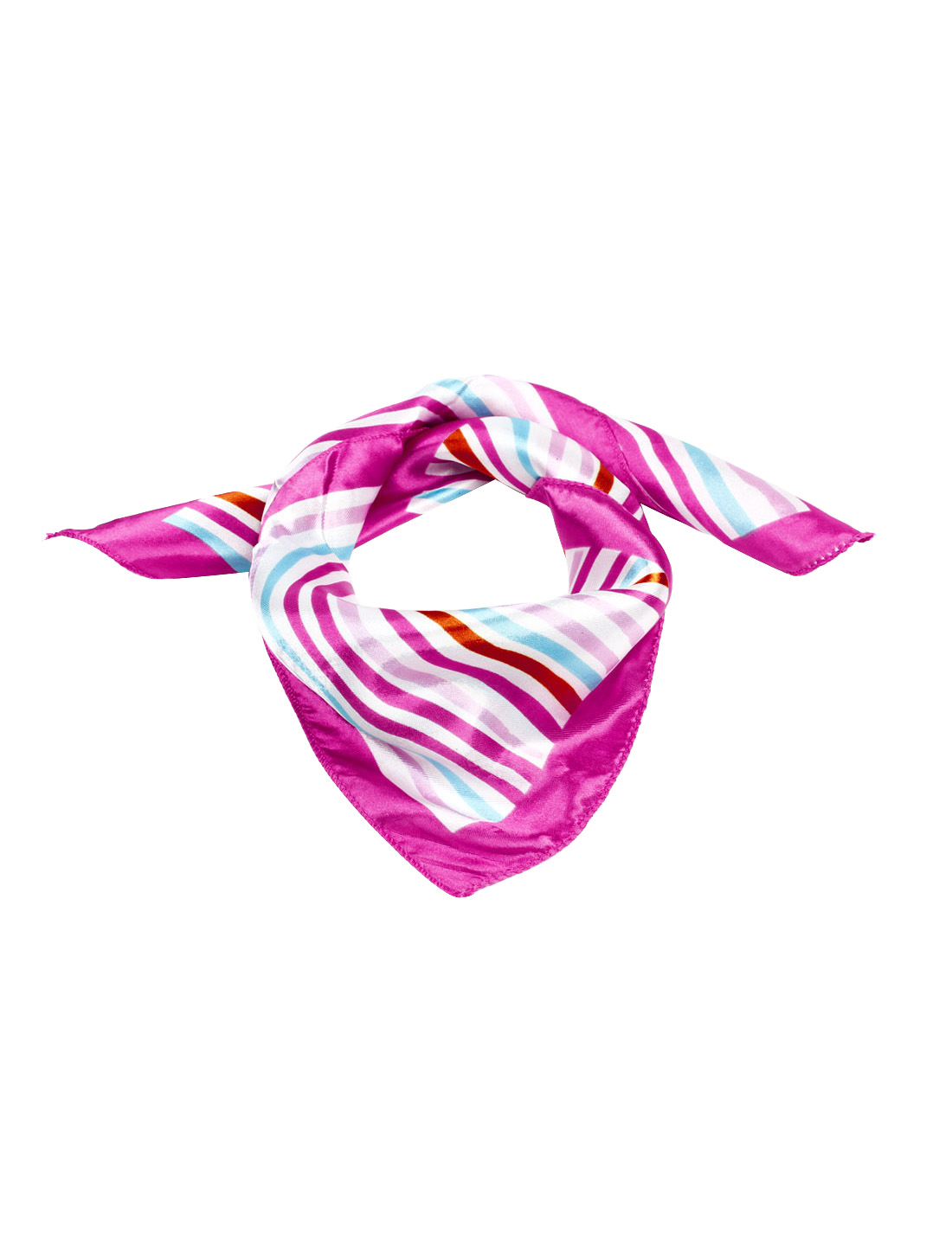 "Stripe Pattern Multi Color Polyester 20"" x 20"" Neck Kerchief Scarf for Lady"