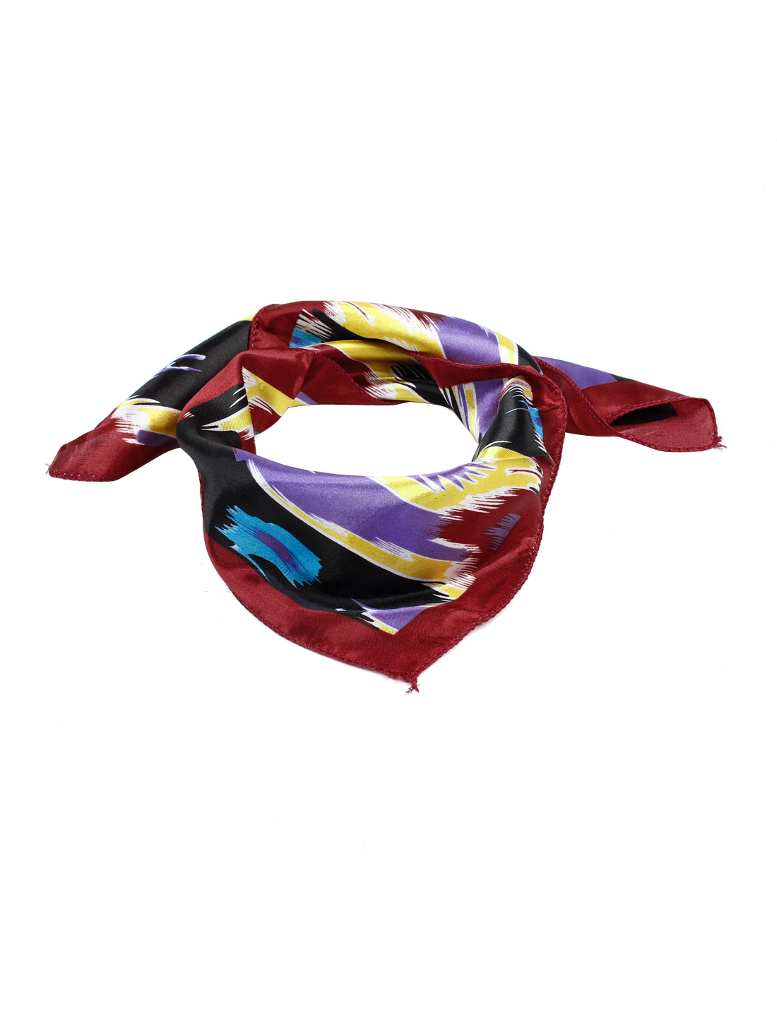 Multicolor Watercolor Painting Polyester Square Neckerchief Scarf for Woman