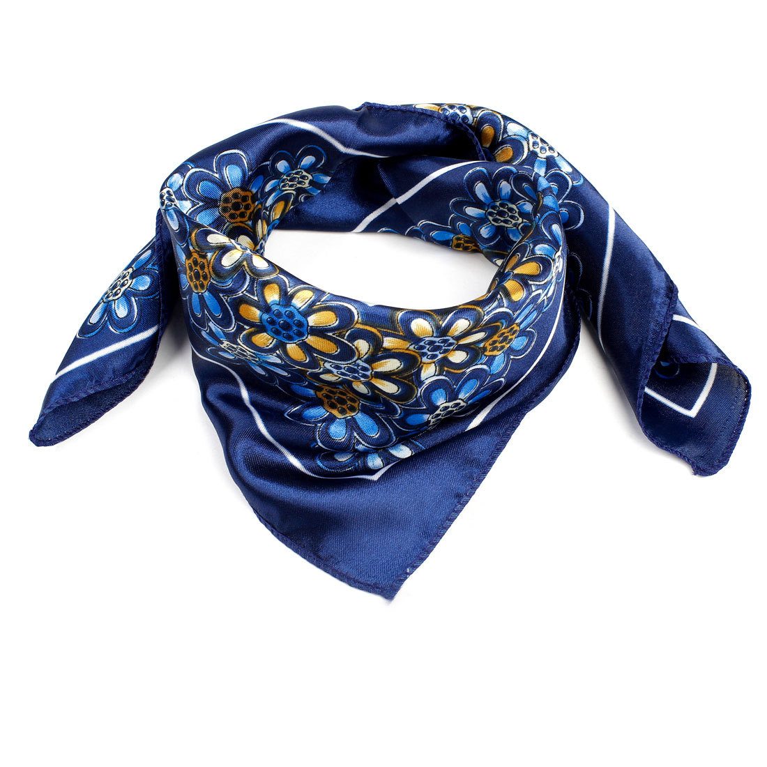 "Sun Flower Print Navy Blue Yellow Polyester 20"" Kerchief Neck Scarf for Woman"