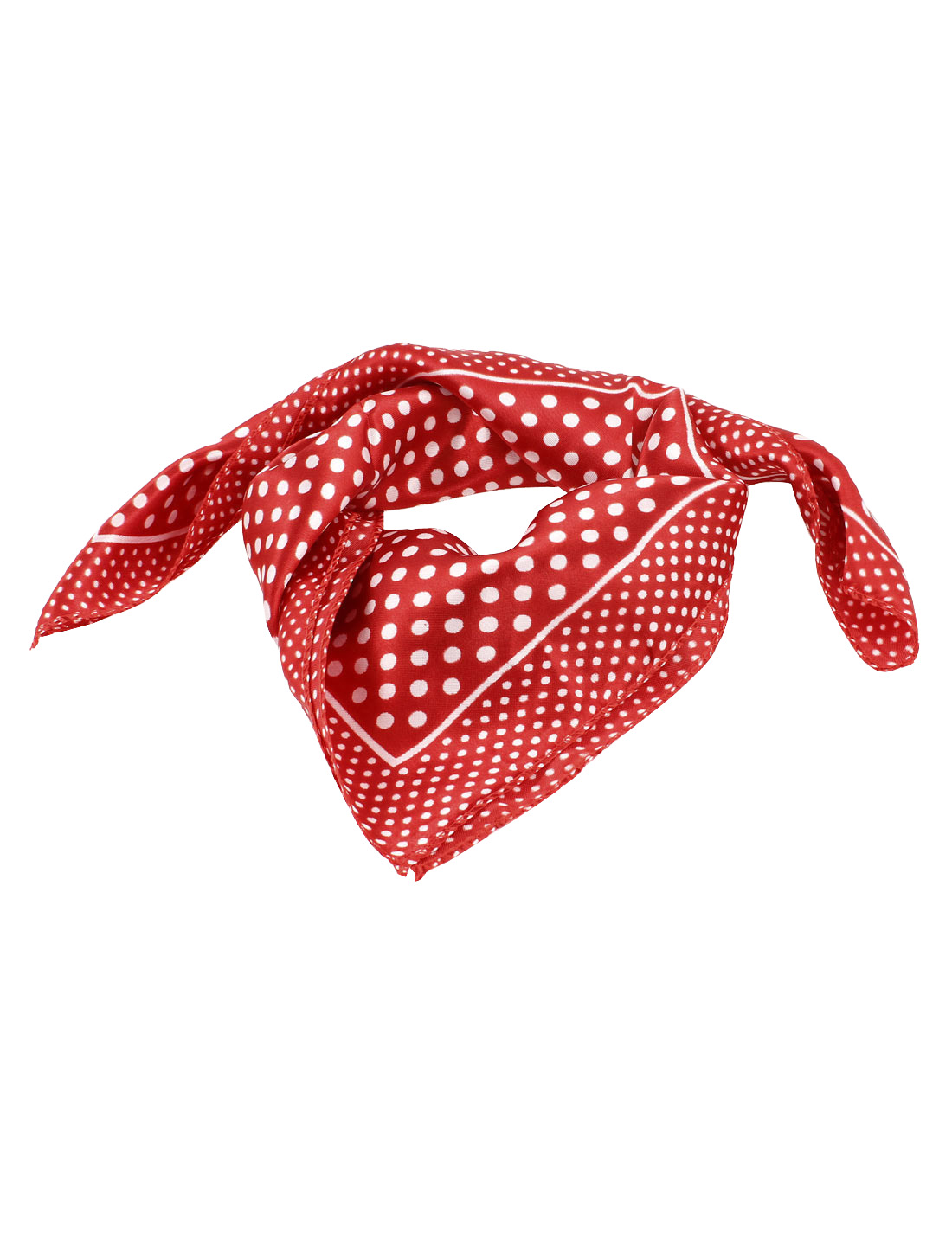 White Dots Pattern Polyester Red Neck Scarf Kerchief for Women