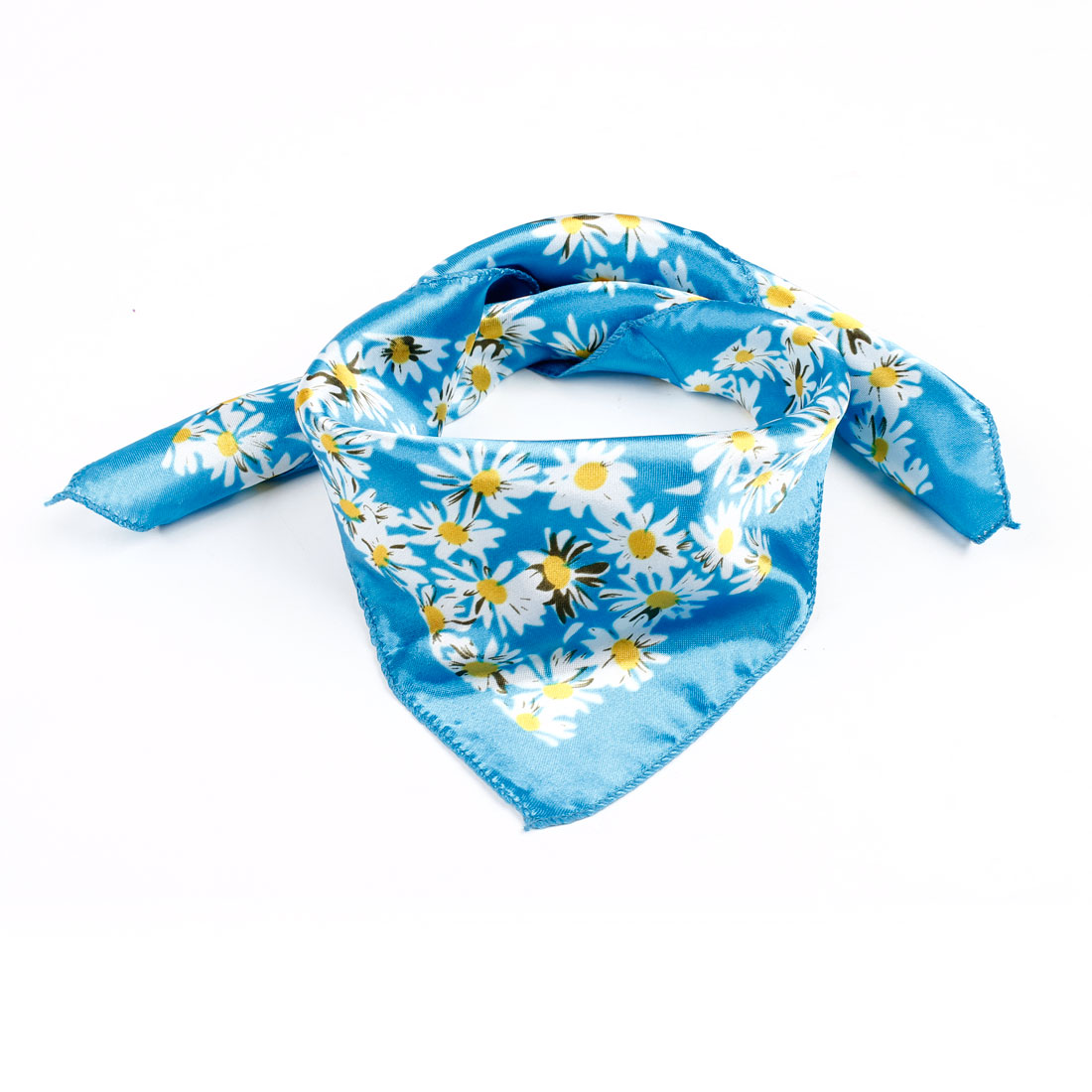 Sun Floral Print Cyan White Yellow Polyester Square Scarf Kerchief for Ladies