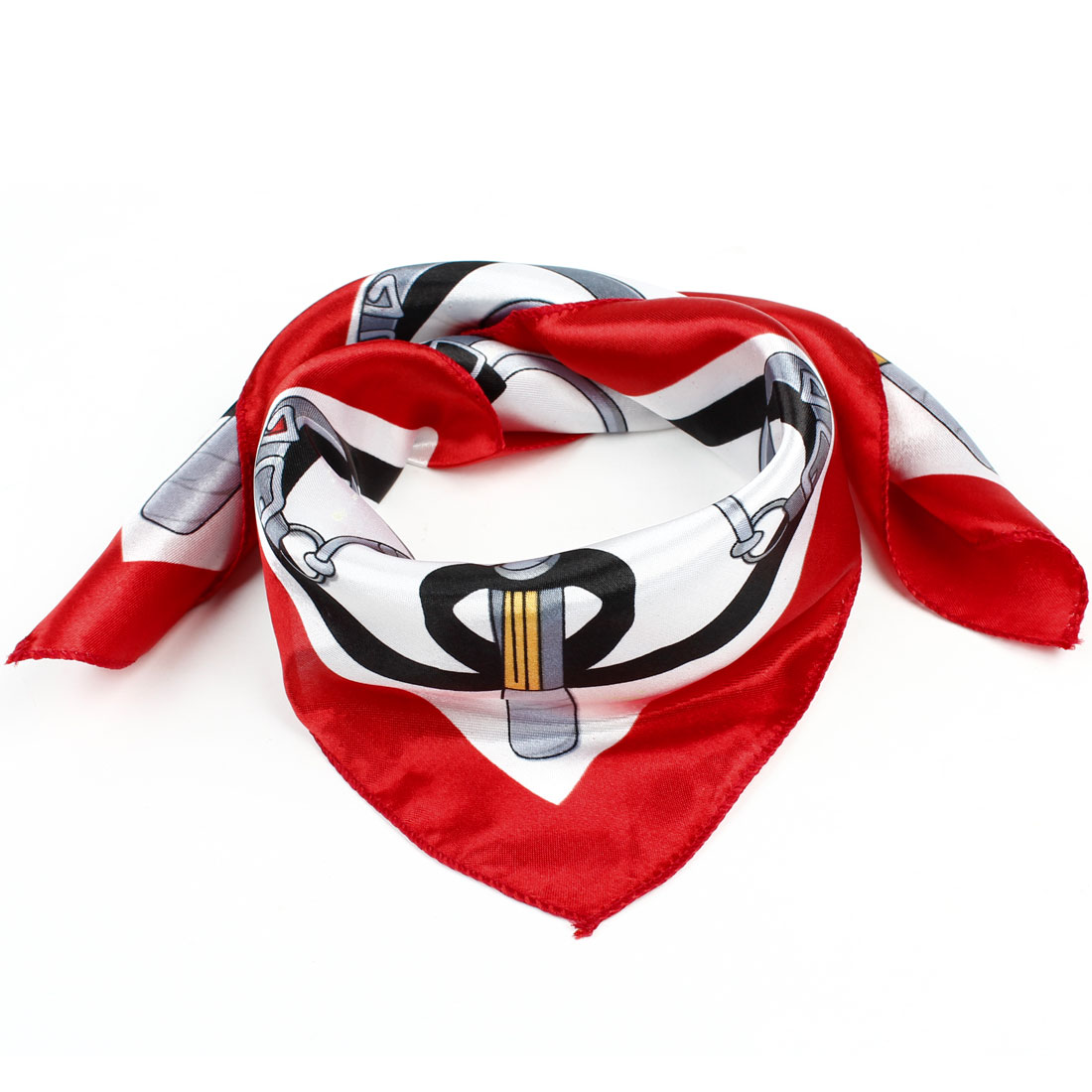 Woman White Red Stripe Pattern Polyester Square Neck Neckerchief Scarf