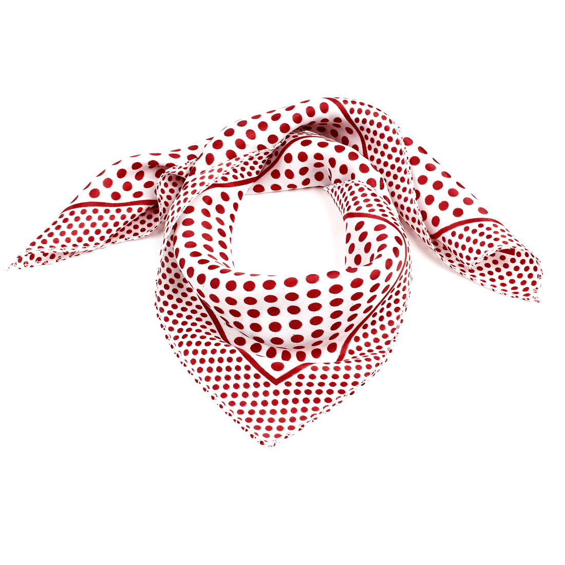 "Red Dots Print White Polyester 20"" Square Neckerchief Scarf for Woman"