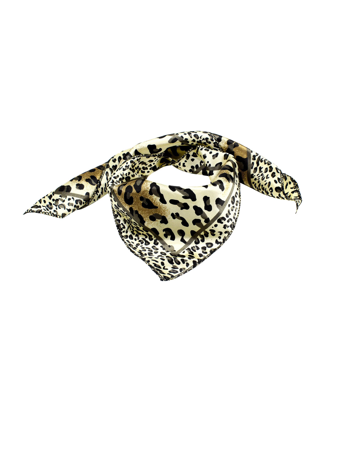 Leopard Pattern Light Yellow Black Polyester Square Scarf Kerchief for Ladies