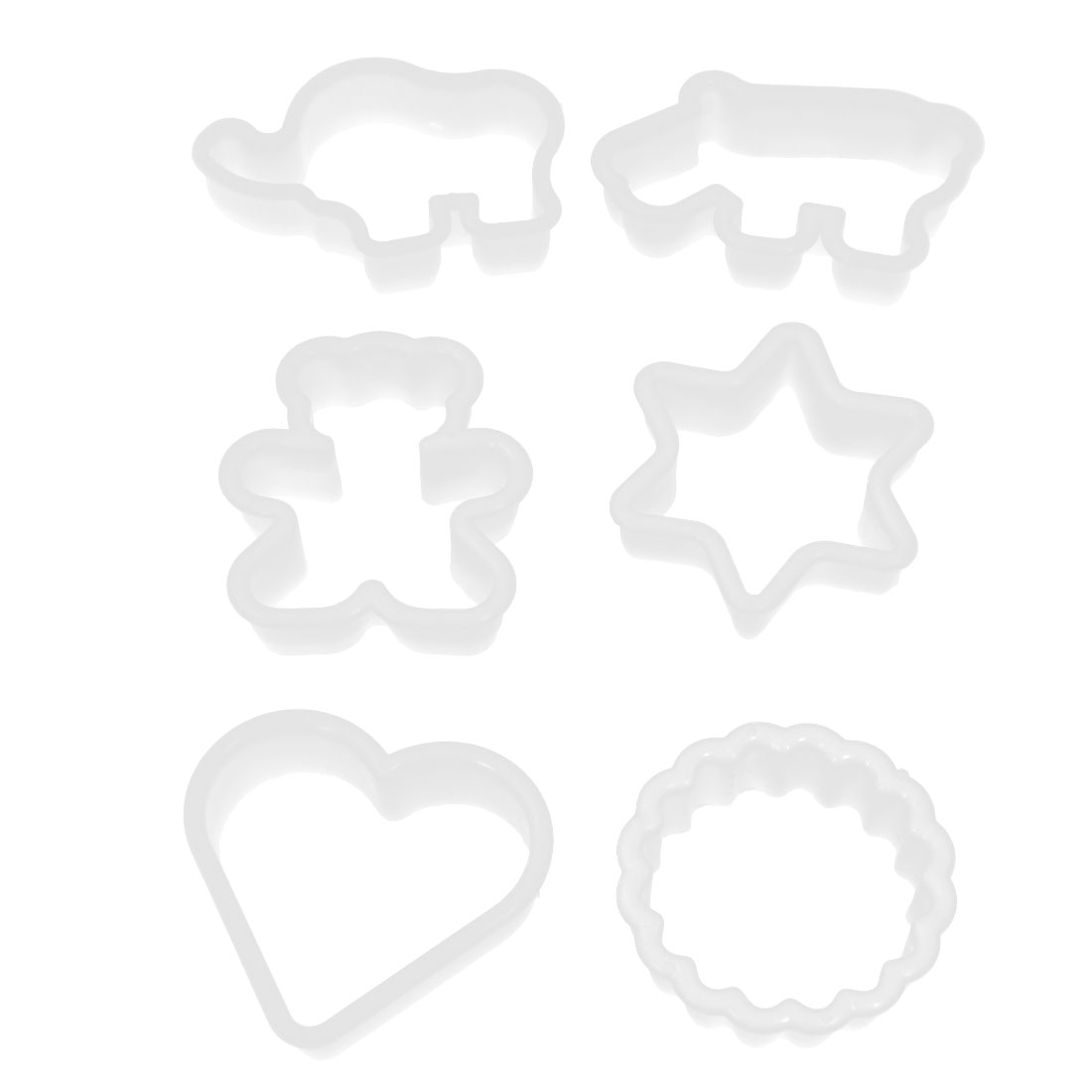 6 in 1 Sketchy Animal Geometric Shape White Plastic Cake Cookie Cutters