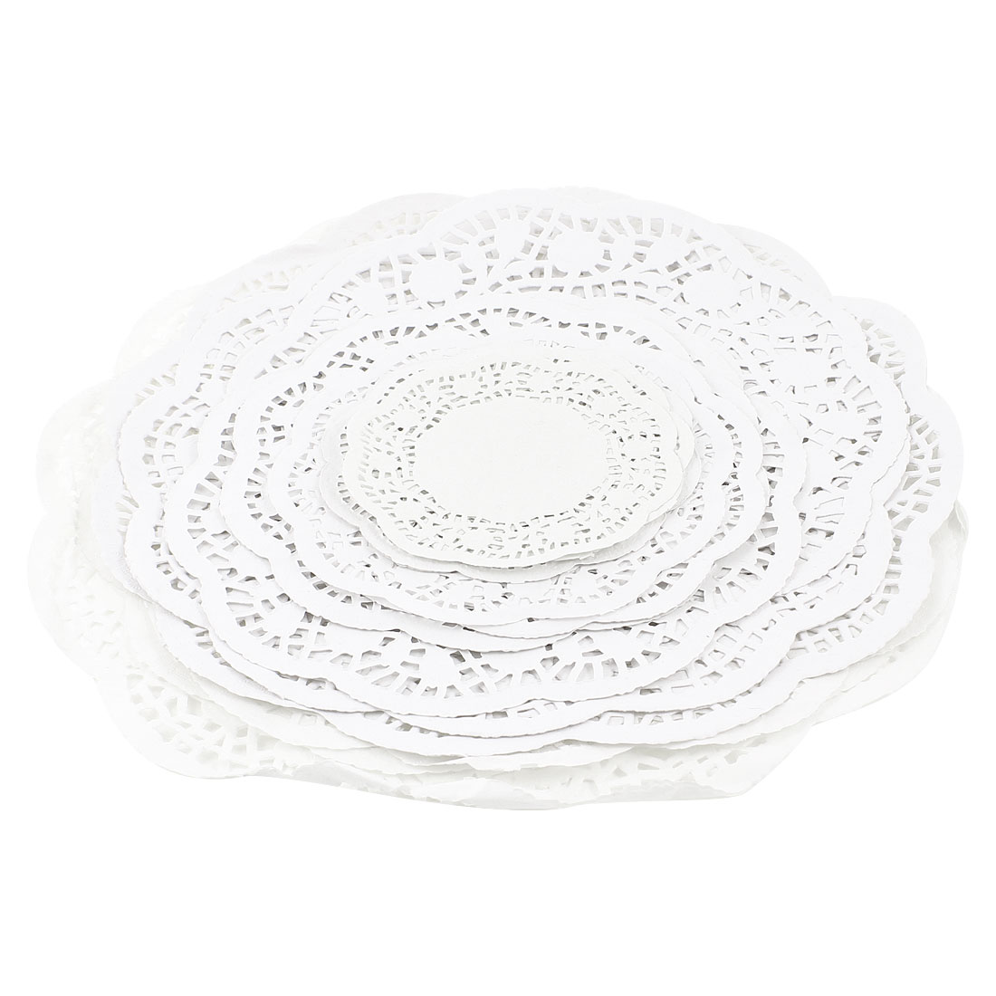Round White Hollow Floral Printed Nonslip Table Cup Pad Paper Doyleys 36pcs