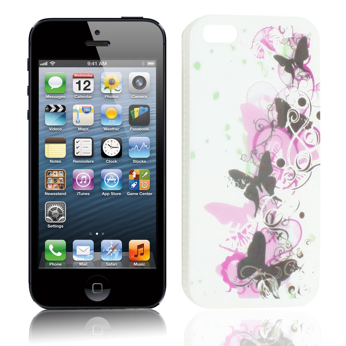 Valender Black Butterfly Pattern IMD Plastic White Back Case Cover for iPhone 5G