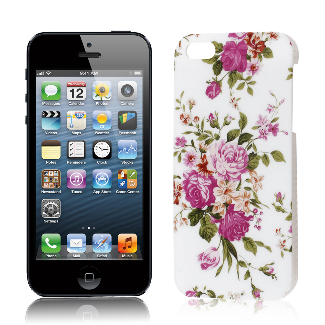 Green Leaves Fuchsia Flower Print Plastic White IMD Cover for Apple iPhone 5 5G