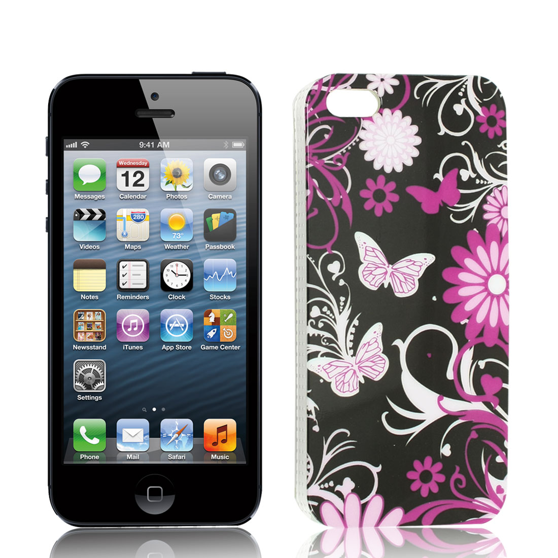 Purple White Flower Butterfly Pattern IMD Hard Back Case Cover for iPhone 5G