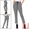 Women Hip Pockets Decor Check Pattern Chiffon Trousers Black White XS