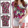 Women Floral Prints Round Neck Chiffon Shirt Multicolor S
