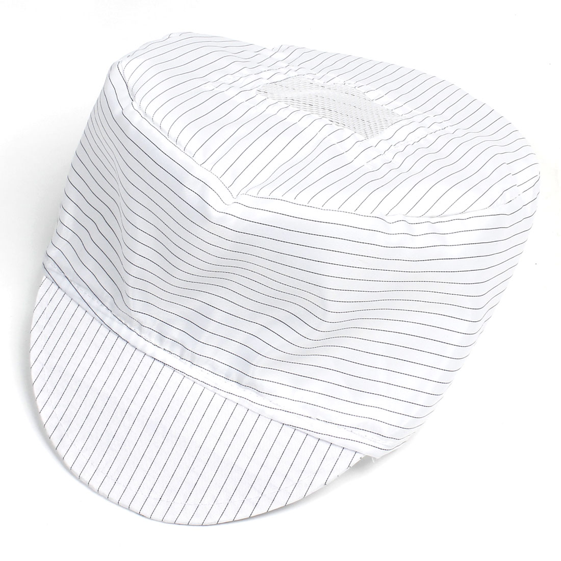 White Black Stripe Pattern Antistatic Visor Cap PC Working Tool for Women Men